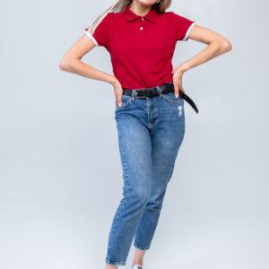 Бордовая футболка поло