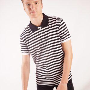 Мужская черно-белая футболка поло полосатая