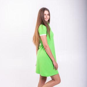 Платье поло трапеция салатовое