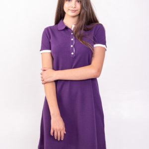 Платье поло трапеция баклажановое
