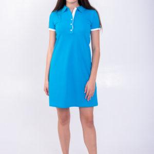 Платье поло трапеция бирюзовое