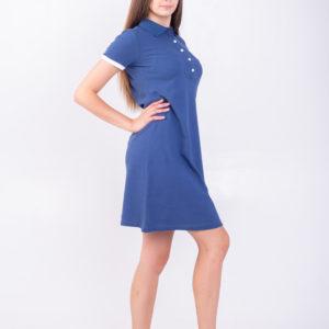 Платье поло трапеция синий джинс